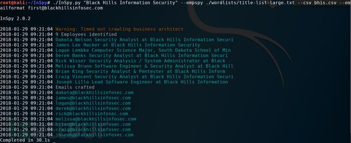 一款收集相关公司内部和员工等信息的工具——InSpy 【黑客工具&网络安全工具】