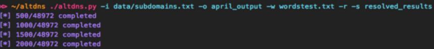 Altdns:一款子域名扫描工具