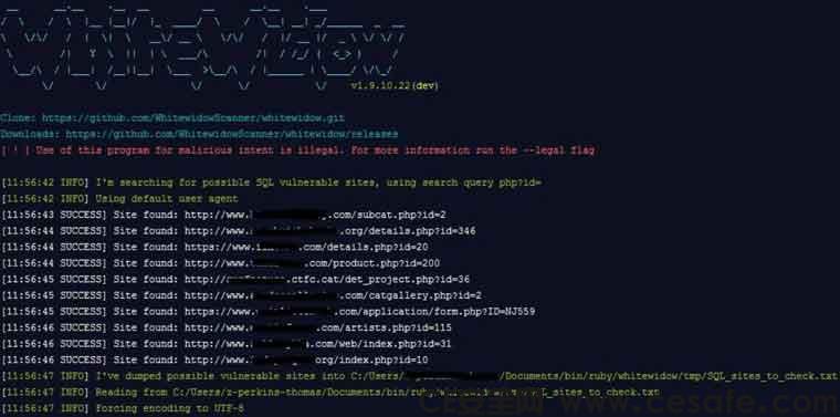 Whitewidow自动化SQL注入漏洞扫描工具