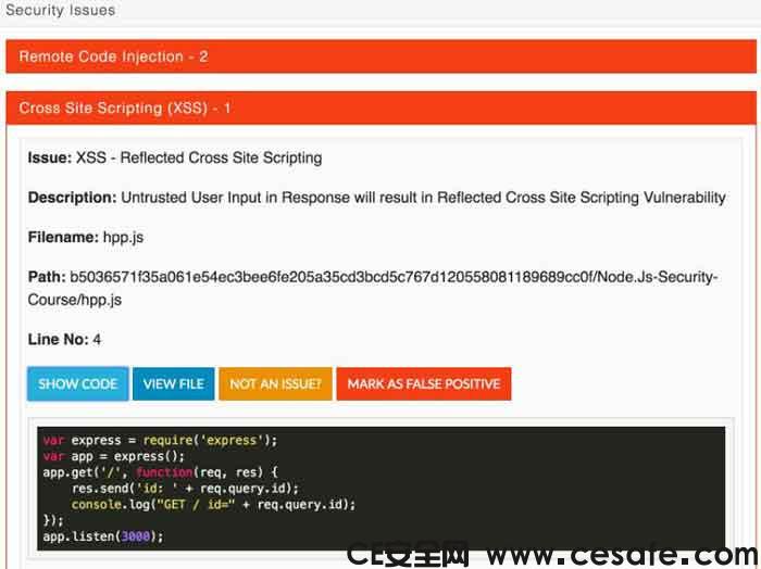 NodeJS应用程序静态安全漏洞代码扫描程序