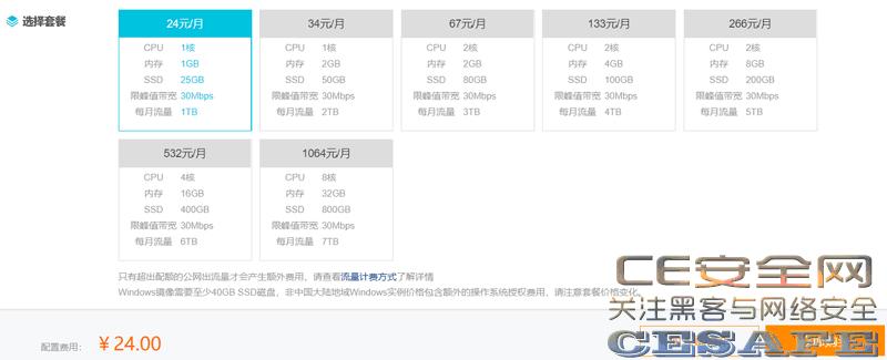 阿里云香港服务器购买漏洞 1H/1G/25G/30M 仅需24元/月